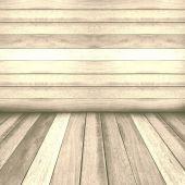Vintage wooden panel wall and floor interior background.  — Zdjęcie stockowe
