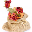 Bouquet of dried withered roses in sackcloth bag on white backgr — Stock Photo #56227799