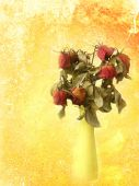 Withered rose bouquet on grungy red-orange painted wall backgrou — Stock fotografie