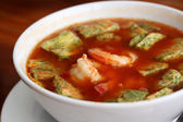 Shrimp and fried egg sour soup  tropical Thai style — ストック写真