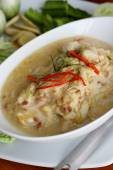 Stew crab with coconut milk dip with fresh vegatables — Stock Photo