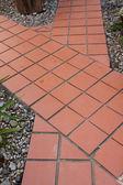 Red tile pathways crossroad — Stock Photo