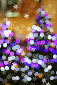 Defocused abstract light bokeh and snow flake on christmas tree  — Foto de Stock