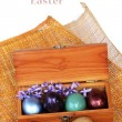 Spring Celebrate - Colorful easter egg in wood box on bamboo wea — Stock Photo #68006723