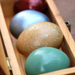 Spring celebrate, Colorful easter eggs in wooden box(shallow dof — Stock Photo #68010171