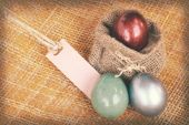 Vintage paper textures easter decoration, colorful eggs and blan — Stock Photo