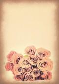 Vintage paper texture, pink roses bouquet. — Fotografia Stock