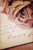 Close up of dry rose and Love word written on card. Soft light v — ストック写真