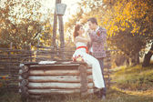 Newlyweds near the wooden well — Stock Photo