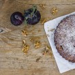 Plum pie with fresh plum and walnuts — Stock Photo #55189351