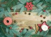 Christmas decorations: fur-tree branches, colorful glass balls, — Stock Photo