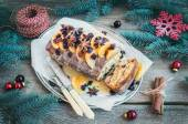 Christmas tangerine and cranberry spicy cake with holiday decora — Stock Photo