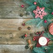 Christmas decorations: fur-tree branches, colorful glass balls, — Stock Photo #60050521