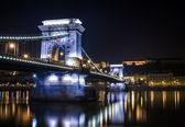 The night view of the Chain bridge, the Danube and Buda side fro — Stock Photo