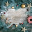 Christmas (New Year) decoration background: fur-tree branches, g — Stock Photo #60388881