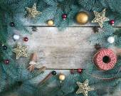 Christmas (New Year) decoration background: fur-tree branches, g — Stock Photo