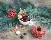 Christmas (New Year) decoration set: a cup full of colorful Chri — Stock Photo