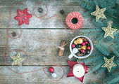 Christmas (New Year) decoration background with a copy space: a  — Stok fotoğraf