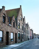 Medieval style houses in a street of Bruges, West Flanders — Stock Photo