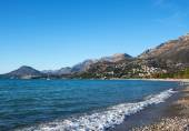 The landscape of the Adriatic coast of Bar, Montenegro. The sea, — Stock Photo