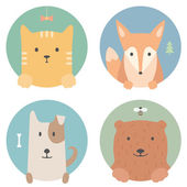 動物セットです。フラットなグラフィックの肖像画。猫、狐、犬、クマ — ストックベクタ