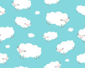 Seamless pattern. White sheep and cloud on the blue sky — ストックベクタ