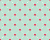 Seamless pattern of hearts on a light green background — Stock Vector