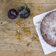 Plum pie with fresh plum and walnuts — Stock Photo #68759403