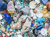 Stones and minerals at the flee market stall — Stock Photo