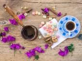 Turkish coffee set on a woden surface — Zdjęcie stockowe
