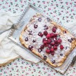 Raspberry cottage cheese cake with fresh raspberries, almond pet — Stock Photo #68760497