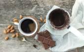 Coffee set: cezve (coffee pot) with freshly brewed coffee, a cof — Stock Photo