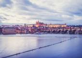 Evening view of the old Prague castle, Charles bridge and Mala Strana side — Stock Photo