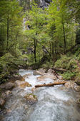 Waterfalls through rocks large cascades down. — Stock Photo