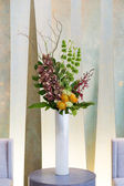 Floral arangement with cymbidium, Hydrangea, Orchids, moluccella — Stock Photo