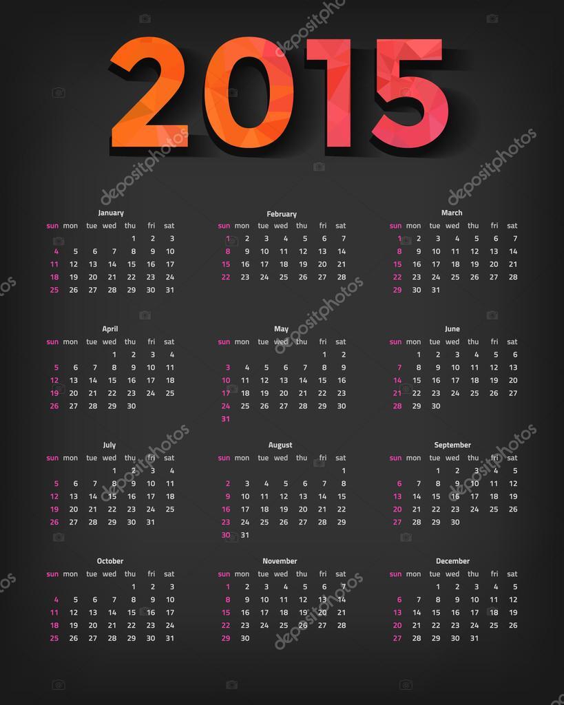 颜色矢量英语 2015年日历-周日周开始