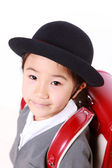 Japanese Schoolgirl With Red Satchel Smiles — Stockfoto