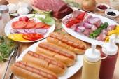 Barbecue and hotdog — Stock Photo