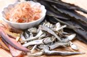 Typical dried foods for Japanese soup stock — Stock Photo