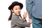 Japanese kindergartener walking to kindergarten with her father — Stock Photo