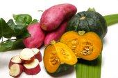 Green pumpkin and sweet potato — Stock Photo