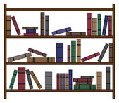 Busy Bookshelf With Books — Vettoriale Stock