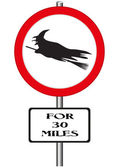 Witches Ahead Sign — Stock Vector