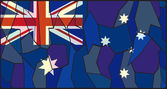 Australia Flag Stained Glass Window — Stock Vector