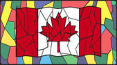 Canadian Flag On Stained Glass Window — Vector de stock