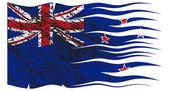 Wavy Zealand Flag Grunged — Stock Vector