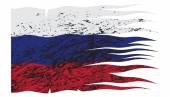 Wavy Russia Flag Grunged — Stock Vector