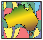 Australia Map Stained Glass — Stock Vector