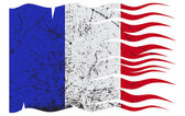 Wavy French Flag Grunged — Stock Vector