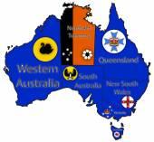 Australia Territory Borders And Flags — Stock Vector